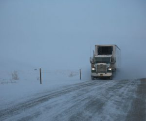 winter roads and semi trucks